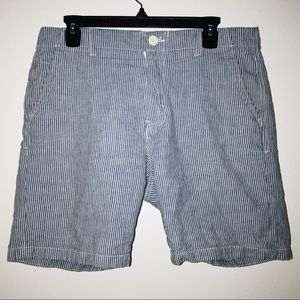Men's Blue and White Pinstripe Shorts